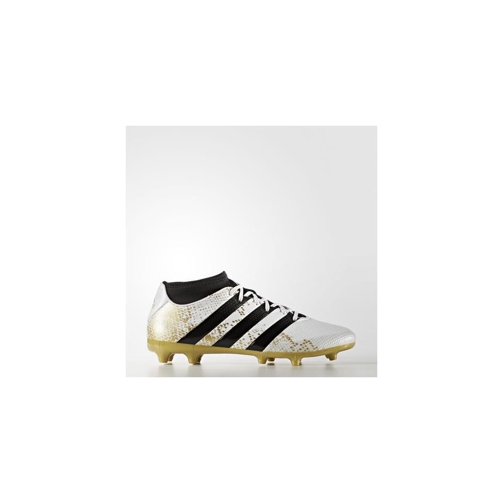 designer fashion 1f30e 847a6 ACE 16.3 Primemesh Firm Ground Boots White/Gold