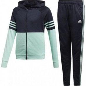 f0d633b97629 adidas Girls Hooded Tracksuit Black White