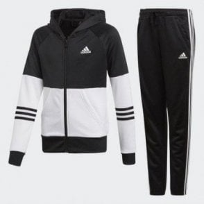 Girls Hooded Tracksuit Black/White