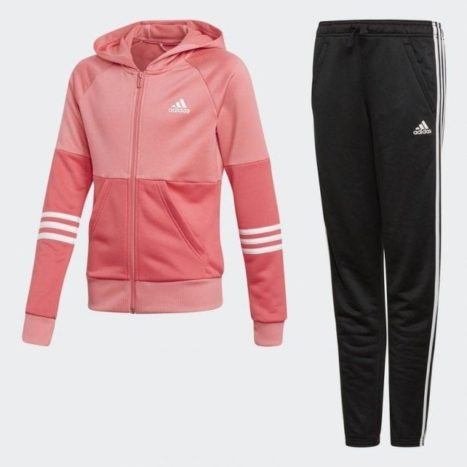 Adidas Girls Hooded Tracksuit Pink