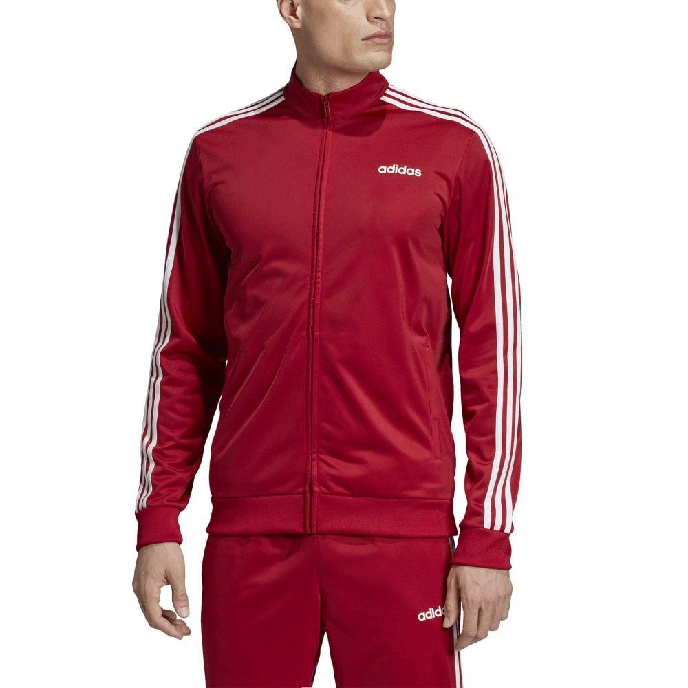 Pronunciar de primera categoría Campo  adidas Mens Essentials 3 Stripes Tricot Track Jacket Red   BMC Sports