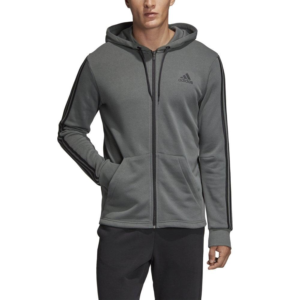 Adidas Men's Must Haves 3 Stripes Hoodie Grey
