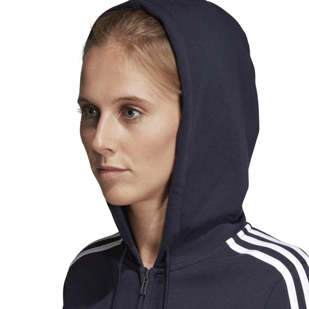 Adidas Women's Essentials 3 Stripe Full Zip Hoodie Navy