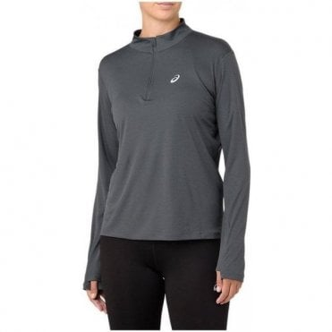 Women's Silver LS Half Zip Grey
