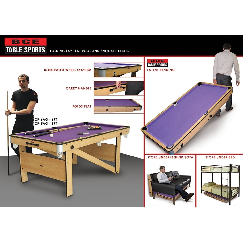 BCE Ft Rolling Lay Flat Pool Table - Rolling pool table