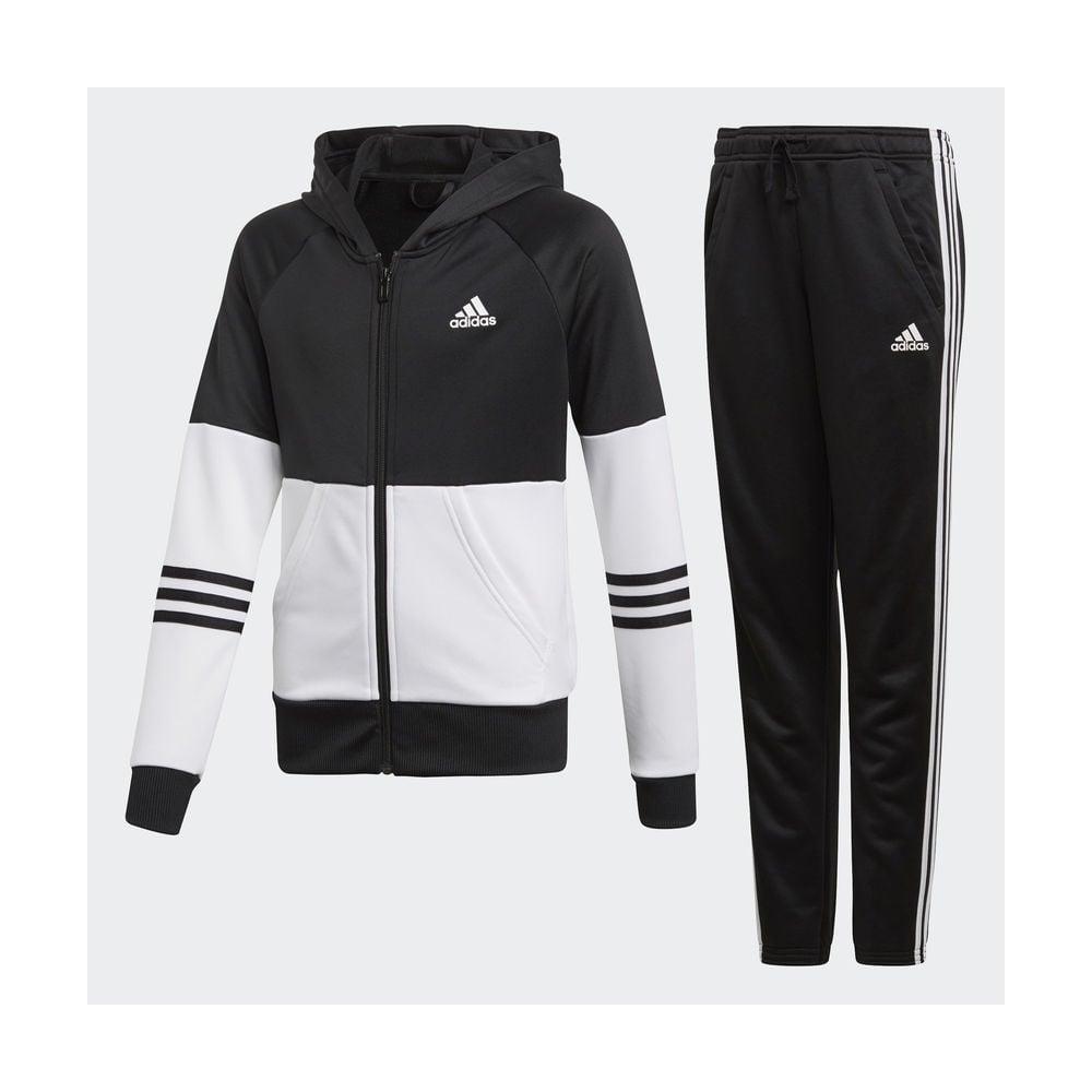 26499719644f Adidas Girls Hooded Tracksuit Black White
