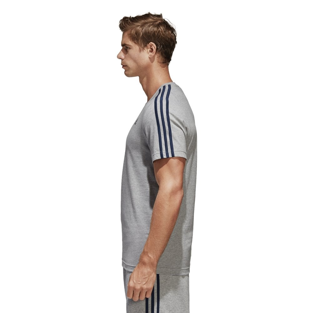 15abf36b Men's Essentials Classic 3 Stripes Tee Grey