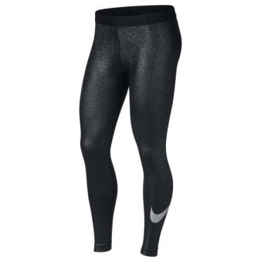 Women's Pro Cool Black Metallic Silver Training Tight