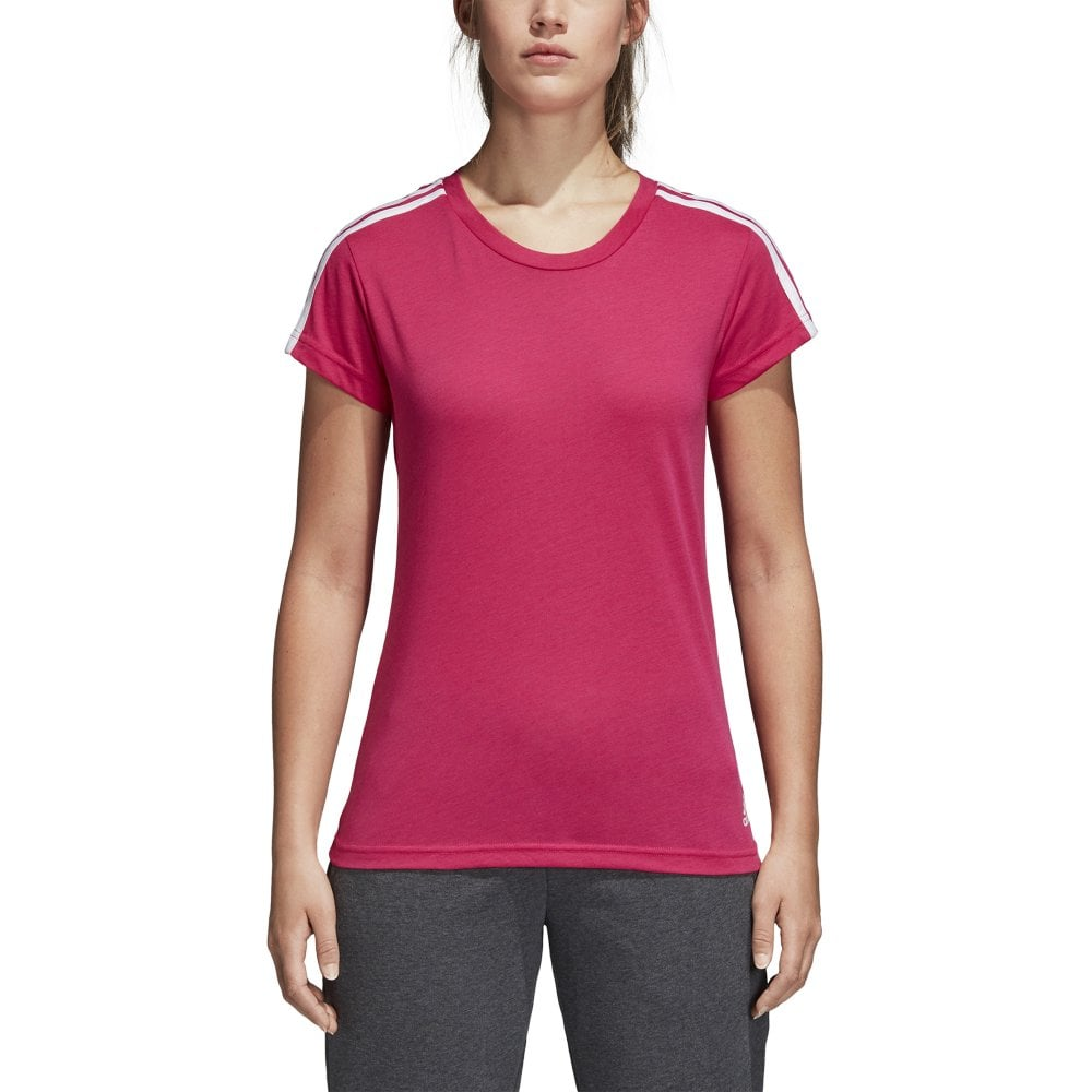 adidas Women s Essentials 3 Stripe Slim Tee  d8cf3efdd9fb